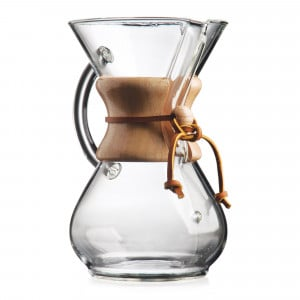 Chemex carafe with glass handle and wooden collar